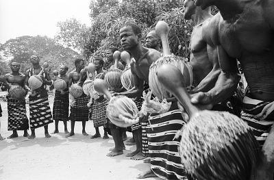 Musicians with their Towa instruments during a Goli performance, Kondeyaokro village, Ivory Coast, [negative]