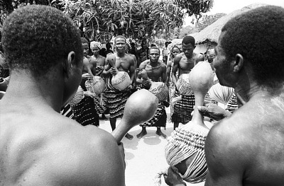 Musicians with their Towa instruments during a Goli performance, Kondeyaokro village, Ivory Coast, [negative]