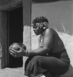 Zulu Woman Holding Bowl