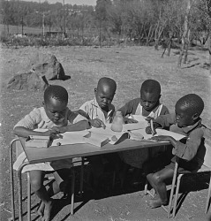 Young Children Drawing at Nursery School