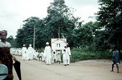 Cherubim and Seraphim religious group marching, Aba, Nigeria. [slide]