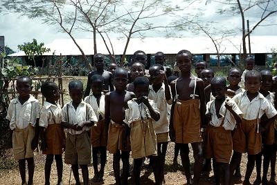 Schoolboys at Itim Primary School, between Amuro Village and Mgbom Village, Afikpo Village-Group, Nigeria. [slide]