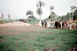 Men dressed in white at Muslim festival, Anohia Village, Afikpo Village-Group, Nigeria. [slide]