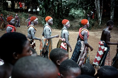 Girls dancing at New Yam Festival, Anohia Nkalo Village, Afikpo Village-Group, Nigeria. [slide]