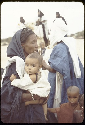 Tuareg man with wife and children, near Tombouctou, Mali, [slide]