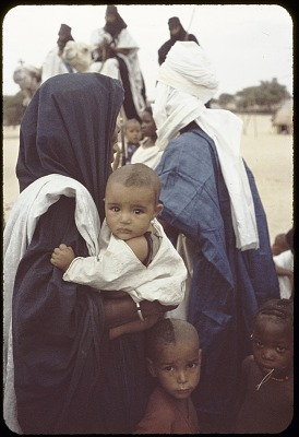 Tuareg man with wife and child, near Tombouctou, Mali, [slide]