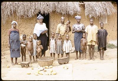 Yoruba farmer, Michael Ige, with members of his family, Adamo village, Nigeria. [slide]