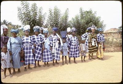 Yoruba women wearing headties of their own creation, Ife, Nigeria, [slide]