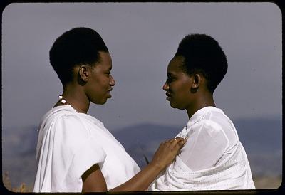 Tutsi women with traditional hairstyle, Buhanga-Ndara, near Butare, Rwanda. [slide]