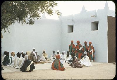 The Emir of Katsina, Sir Alhaji Usman Nagogo, holding a morning greeting ceremony, Katsina, Nigeria. [slide]
