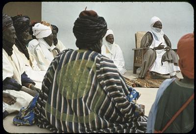 Elite bodyguards of the Emir of Katsina attending a morning greeting ceremony, Katsina, Nigeria. [slide]