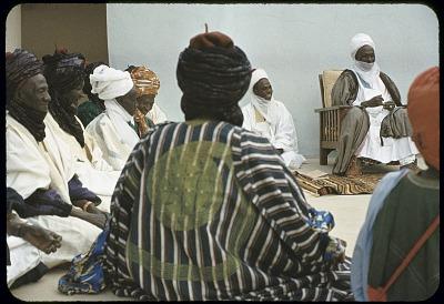Elite bodyguards and coucil members of the Emir of Katsina attending a morning greeting ceremony, Katsina, Nigeria. [slide]