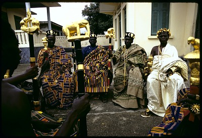 Marc Akouman, party delegate, Akouedo village with Kyaman chiefs and notables, Anna village, Ivory Coast, [slide]