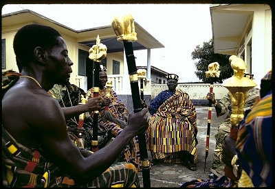 Linguist staff held by Kyaman chiefs and notables, Anna village, Ivory Coast, [slide]
