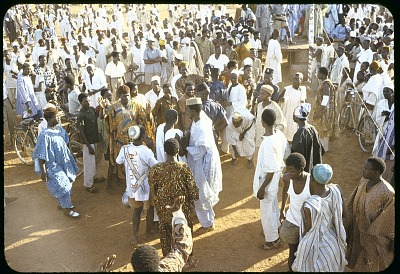 Crowd and police at Action group rally, Sokoto, Nigeria. [slide]