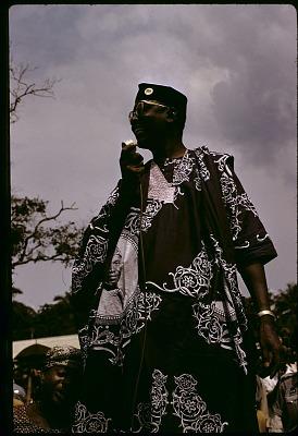 Dr. Nnamdi Azikiwe, Premier of Eastern Region, at N.C.N.C. rally, Urualla, Nigeria. [slide]