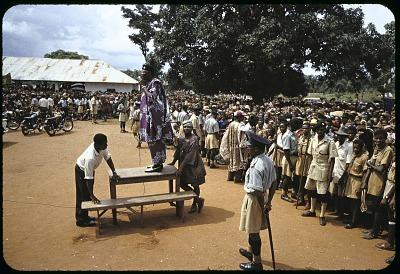 Dr. Nnamdi Azikiwe, Premier of Eastern Region, at N.C.N.C. rally. Urualla, Nigeria. [slide]