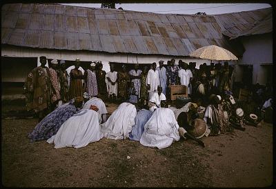 John Adetoyese Laoye I, Timi of Ede, in palace courtyard, Ede, Nigeria, [slide]