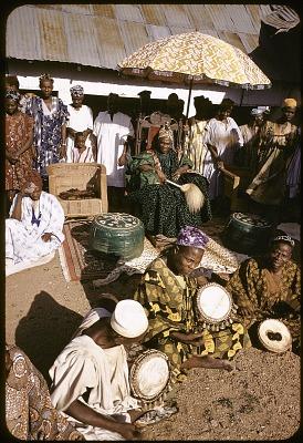 Drummers performing for John Adetoyese Laoye I, Timi of Ede, Ede, Nigeria, [slide]