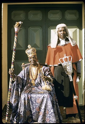The Alake of Abeokuta (seated) and his son, the Chief Justice of the Federation of Nigeria (supreme court), Abeokuta, Nigeria. [slide]
