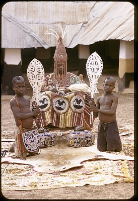 Oba Ademuwagun Adesida II, the Deji (ruler) of Akure, in courtyard of Akure palace, Akure, Nigeria. [slide]