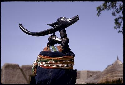 Masked performer wearing male horizontal Chi wara headdress, referred to as n'gonzon koun, Bamako (national district), Mali. [slide]