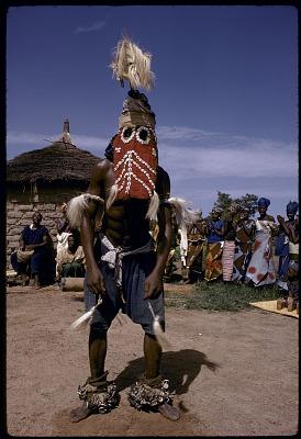 Masked performer wearing vertical Chi wara headdress, Bougouni village, Mali, [slide]