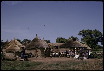 Masked performers wearing pair of male and female vertical Chi wara headdresses, Bougouni village, Mali, [slide]