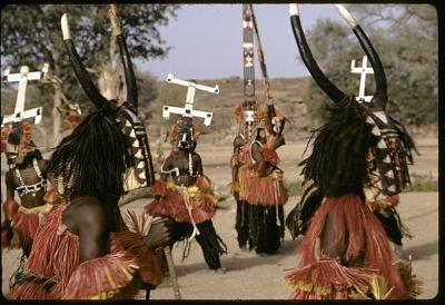 Sirige, Kanaga and buffalo masqueraders during the Dama ceremony, Sanga, Mali, [slide]