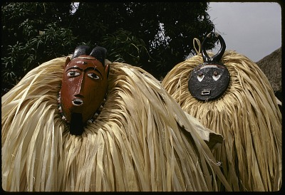 Kple Kple and Kpan Pre masks dancers during a Goli performance, Kondeyaokro village, Ivory Coast, [slide]
