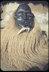 Mende masquerader performing the satirical mask gongoli, Monrovia, Liberia. [slide]