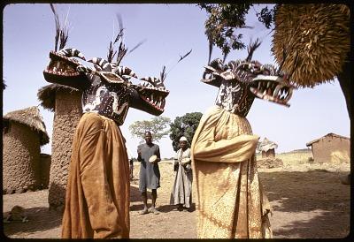 Wanyugo masks dancers, near Korhogo, Ivory Coast, [slide]