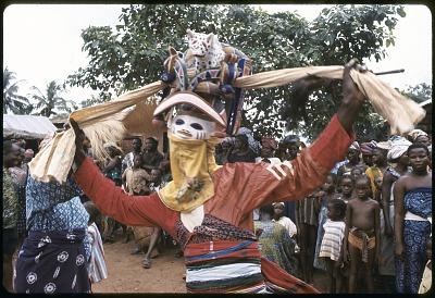Masked dancer during a Gelede performance, Meko, Nigeria, [slide]