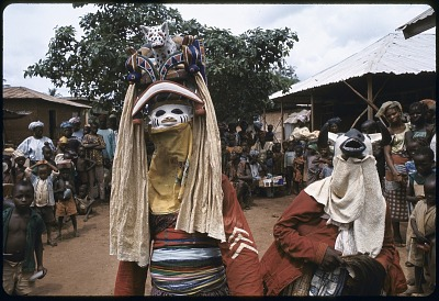 Masked dancers during a Gelede performance, Meko, Nigeria, [slide]