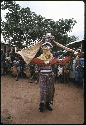 Masked dancer during a Gelede performance, Meko, Nigeria, [slide]