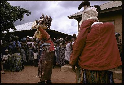 Masked dancers during a Gelede performance, Meko, Nigeria, [slide]