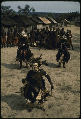 Pwoom Itok and mukyeem masked dancers, Muentshi, Congo (Democratic Republic). [slide]