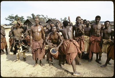 Musicians at a performance of pwoom itok and mukyeem masked dancers, Muentshi, Congo (Democratic Republic). [slide]