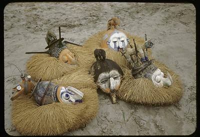 Display of Yaka masks, near Kasongo Lunda, Congo (Democratic Republic). [slide]