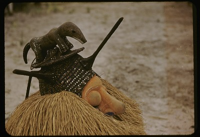 Display of Yaka mask, near Kasongo Lunda, Congo (Democratic Republic). [slide]