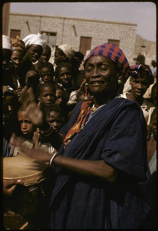 Image for Female musician playing drum, Tombouctou, Mali, slide