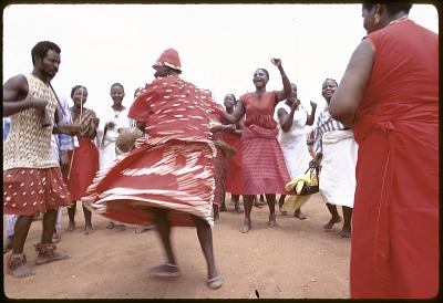 Cross-dressing by men during public festival, Ibadan, Nigeria, [slide]
