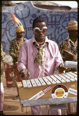 Twins Seven Seven with his jazz band, Oshogbo, Nigeria, [slide]