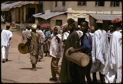 Yoruba musicians performing drums at a community festival, Oshogbo, Nigeria, [slide]