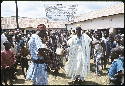 Representatives of cult groups and women worshippers attenting a community festival, Ede, Nigeria, [slide]