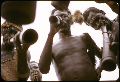 Dakpa men blowing into wooden trumpet known as ongo, Ubangi-Shari region, Central African Republic. [slide]