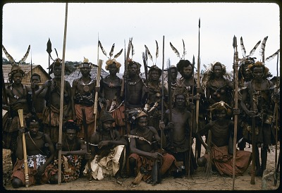 Kuba elders and warriors dressed for the state visit of the Nyim (ruler) Kot a Mbweeky III, Bungamba village, Congo (Democratic Republic), [slide]