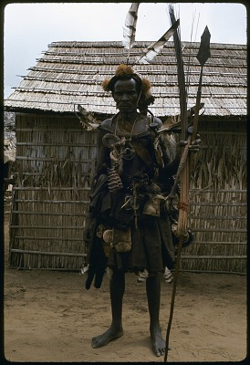 Extensive regalia worn by titled Kuba soldier known as Iyol, Bungamba village, Congo (Democratic Republic), [slide]