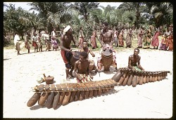 Music orchestra performing during women dance, near Gungu, Congo (Democratic Republic), [slide]