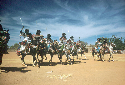 Mounted armed guards of the Emir of Katsina during festival of Sallah, Katsina, Nigeria. [slide]